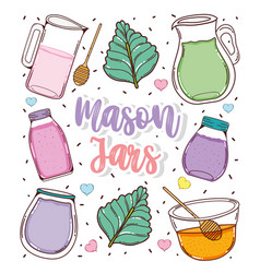 Set mason jars cartoons vector