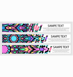 set of color banners with text and mandala vector image