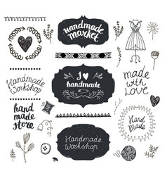 set of hand drawn doodle frames badges vector image