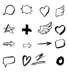 set of hand drawn icons isolated on white vector image
