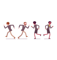 set of male and female teacher running rear vector image vector image