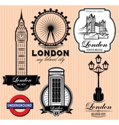 set patterns with london attractions vector image