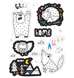 set with funny stickers with forest animas vector image