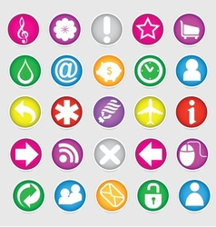 shiny colored web social symbols set vector image vector image