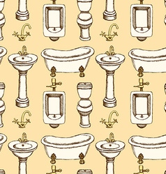 Sketch bathroom and toilet equipment vector image