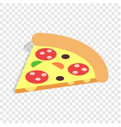 Slice of pizza isometric icon vector