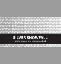 Square pattern set silver snowfall seamless tile vector