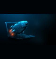 startup concept rocket flying out laptop vector image