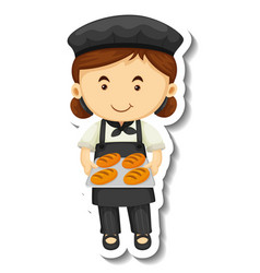 Sticker template with a baker girl holds baked vector