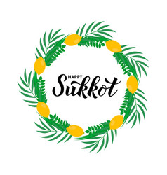 Sukkot hand lettering with circle frame four vector