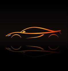 Supercar orange outline elegant sign vector