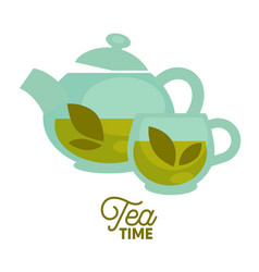 tea time clear glass teapot and cup with herbal vector image