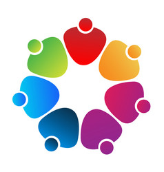 teamwork heart friends icon vector image