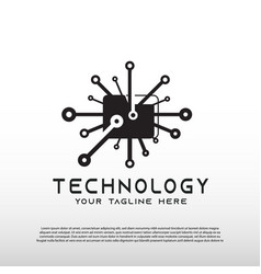 Technology logo with circuit board concept vector