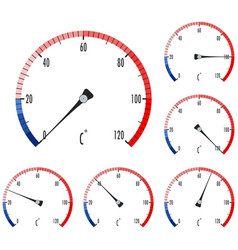 Temperature gauge colored scales vector