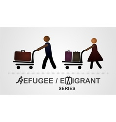 The man and woman move with luggage on cart vector