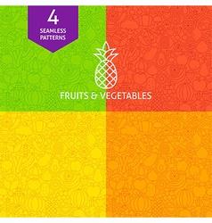 Thin Line Art Fruits Vegetables Pattern Set vector image