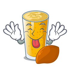 Tongue out lassi mango in the character fridge vector