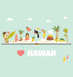tourist poster with famous landmarks hawaii vector image