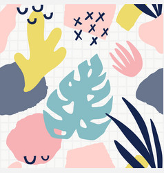trendy seamless pattern with abstract forms vector image
