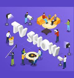 Tv show isometric background vector