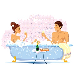 Two enamored in a bathroom vector