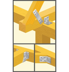 Types of connections bars and rafters1 vector image