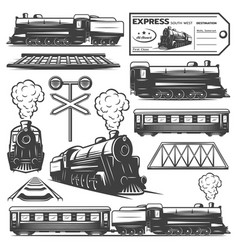 Vintage monochrome locomotive elements collection vector