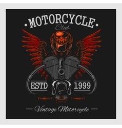 Vintage motorcycle print Monochrome on dark vector
