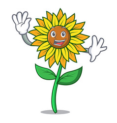 waving sunflower character cartoon style vector image