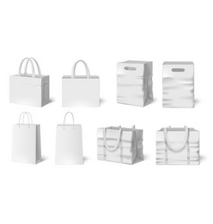 white shopping bag mockup paper bags fabric bag vector image