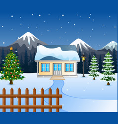 Winter night with christmas treessnowy house and vector
