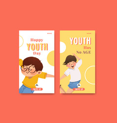 youth day instagram template design vector image
