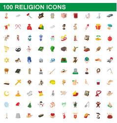 100 religion icons set cartoon style vector image