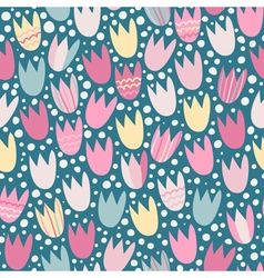 Seamless pattern with stylized tulips vector image vector image