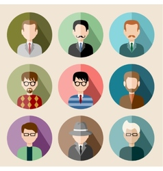 Set of circle flat icons with man vector image vector image