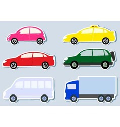 transport set with colorful cars silhouette vector image