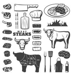 Vintage Steak Icon Set vector image vector image