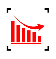 declining graph sign red icon inside vector image vector image