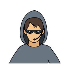 man hacker icon image vector image
