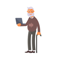 old man with laptop vector image vector image