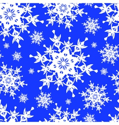 Seamless pattern blue with snowflakes vector image vector image