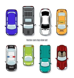 Set of cars top view vector
