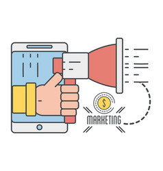 Smartphone with hand and megaphone with coin icon vector