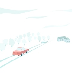 vehicles traveling through the countryside vector image