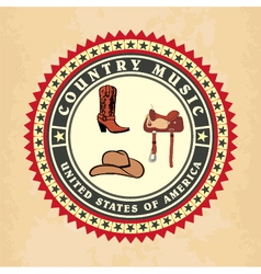Vintage label country music vector image