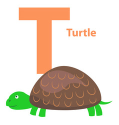 alphabet for letter t with turtle vector image vector image