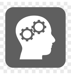 Brain Gears Rounded Square Button vector image