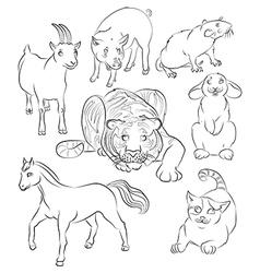 Cat goat horse pig rabbit rat tiger vector image