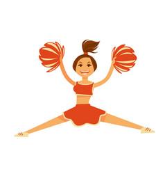 cheerleader in orange uniform with pompons jumps vector image vector image